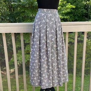 Vintage 80s 90s Floral Highwaisted Pleated Skirt